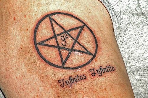 Infinitas infinitio pentagram tattoo