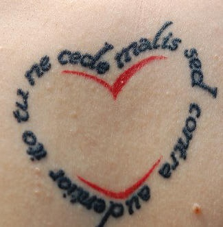 testo latino scritto nel core tatuaggio