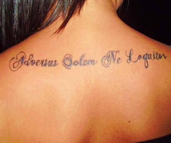 Adversus solem ne loquitor tattoo