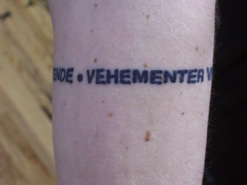 Latin vehementer tattoo