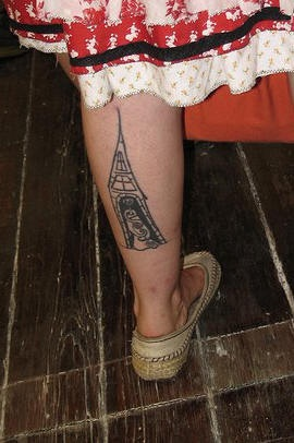 Leg tattoo, princess in tall narrow  castle