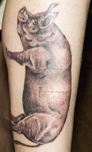 Leg tattoo, big, fat, real pig