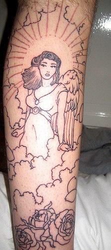 Leg tattoo, beautiful angel girl in clouds