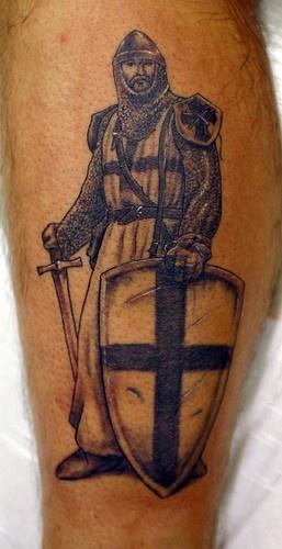 Leg tattoo, tall, black knight with  shield