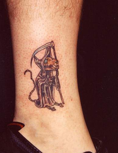 Death with bull skull tattoo