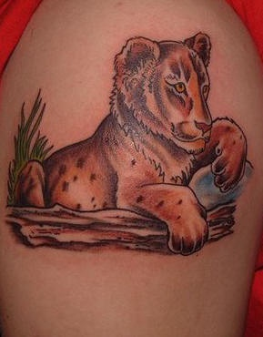Lion cub coloured tattoo