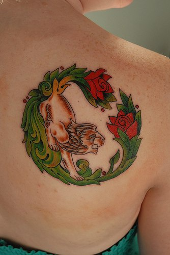 Colourful middle age style lion and roses