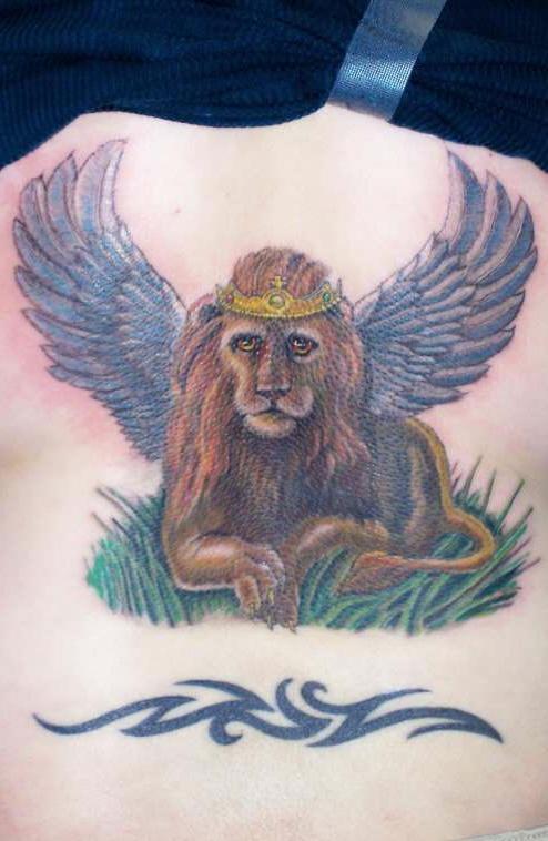Winged lion tattoo - photo#19