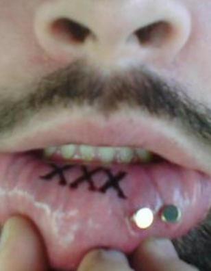 Lip tattoo, three black similar xxx