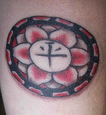 Hindu lotus flower with mantra  tattoo
