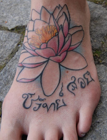 lotus flower with hindu writings tattoo on foot  tattooimages.biz, Beautiful flower