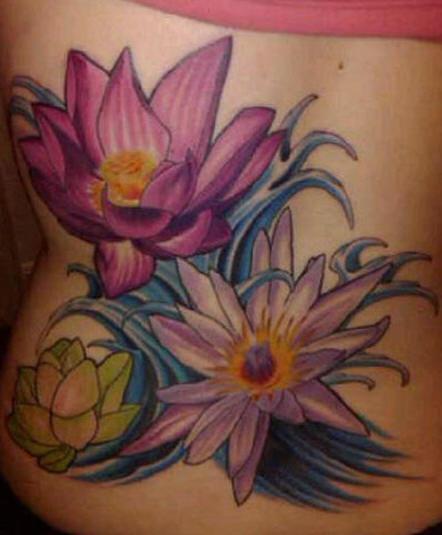 Lotus flowers in water large tattoo