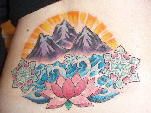 Lotus flower with sea and mountains