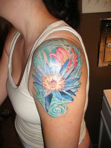 Watercolour pale lotus tattoo
