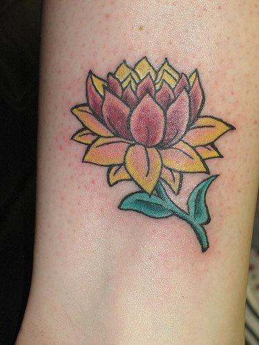 Yellow and purple lotus tattoo