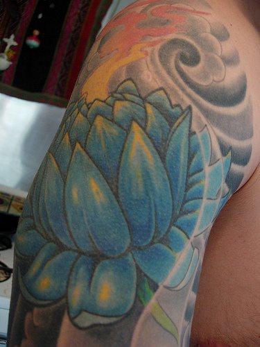 Large blue lotus flower tattoo