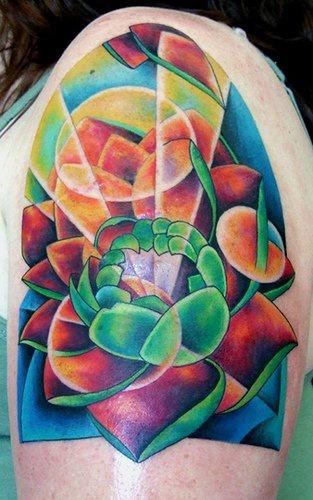 Surreal colourful lotus flower tattoo