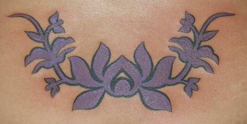Purple lotus tracery tattoo