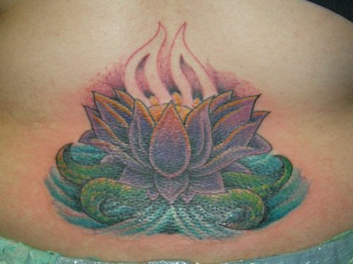 Sacred water lotus tattoo in colour