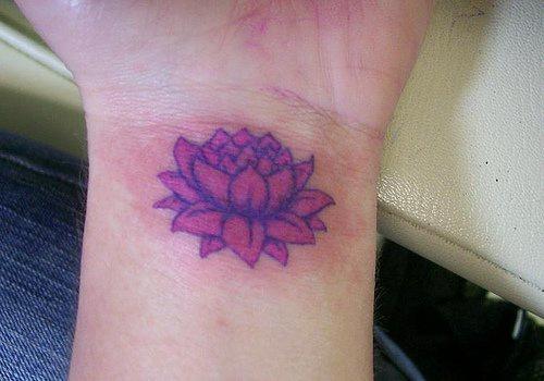 Purple Lotus Flower Tattoo On Wrist Tattooimagesbiz