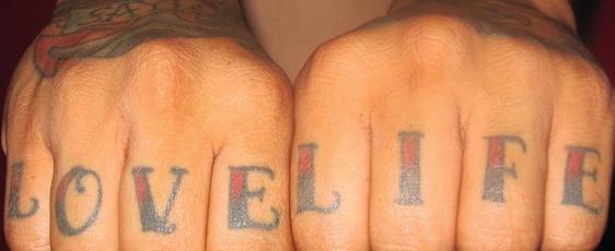 Love life knuckle tattoo