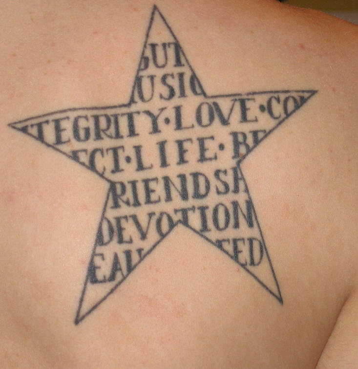 love loyalty friendship in star tattoo. Black Bedroom Furniture Sets. Home Design Ideas