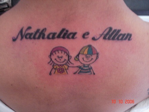 Cartoonish pair nathalia and allan tattoo