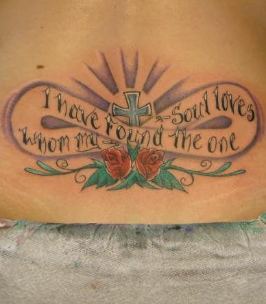 Lower back tattoo, i have found the one whom soul loves