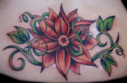 Lower back tattoo,styled, beautiful red flower