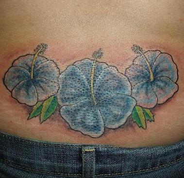 Lower Back Blue Hibiscus Tattoo Tattooimagesbiz