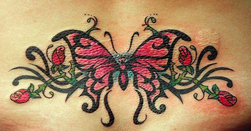 Tatuaggio colorato sulla lombo bellissima farfalla & le rose