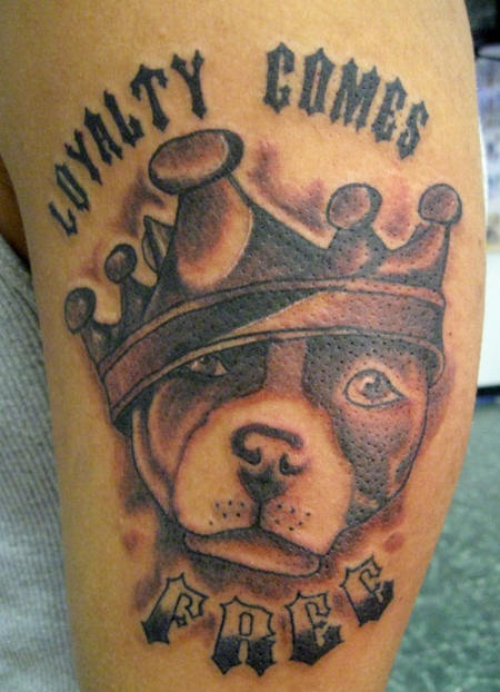 Loyalty comes free dog in crown tattoo