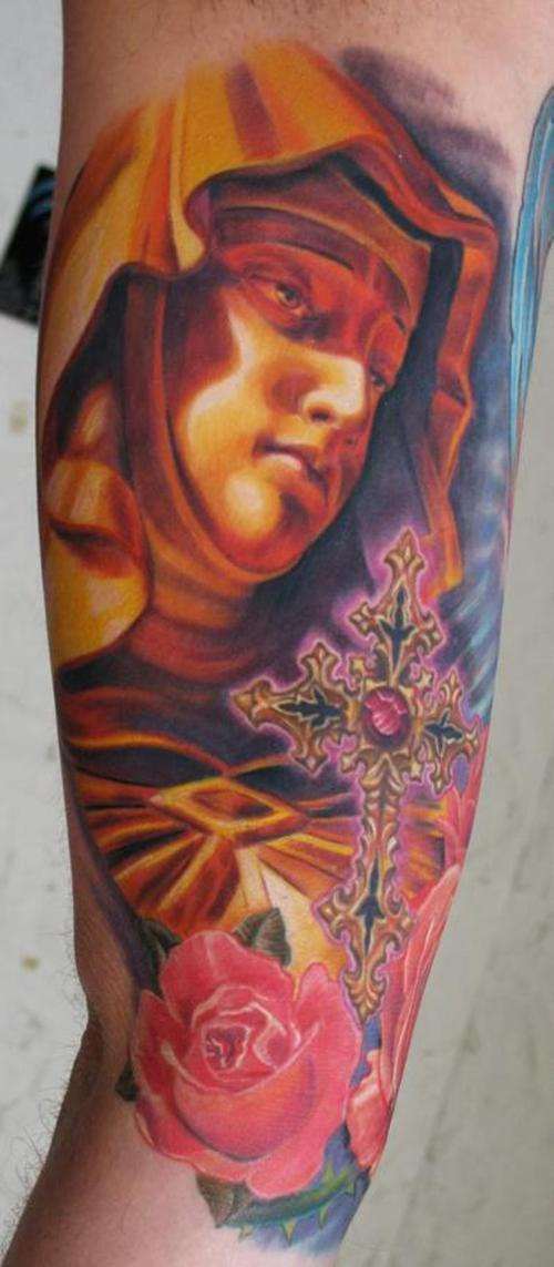 Amazing mary with cross and roses artwork tattoo
