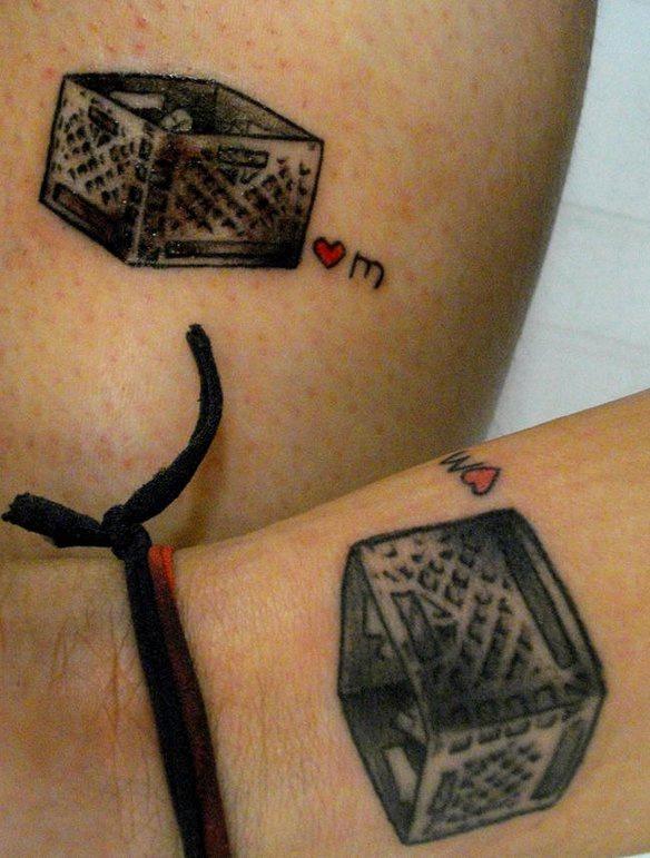 Matching friendship box tattoos