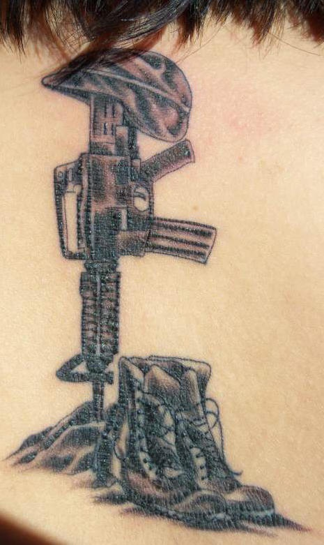M16 with shoes and helmet army memorial tattoo