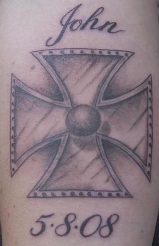 Maltese cross memorial tattoo