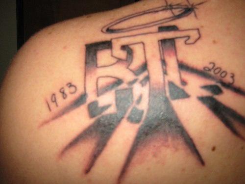B j initials memorial tattoo