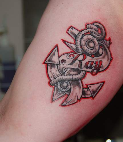 Steel anchor memorial tattoo