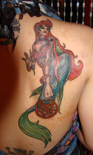 Large red haired mermaid tattoo