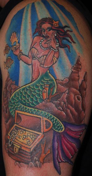 Colourful mermaid and treasures tattoo