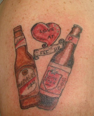 Mexican beer bottles love tattoo