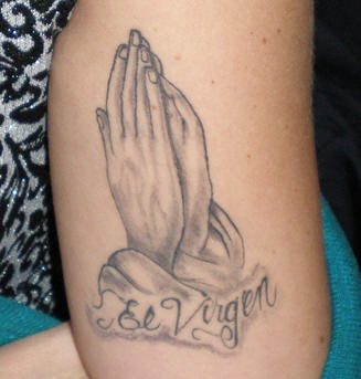 Mexican praying hands tattoo