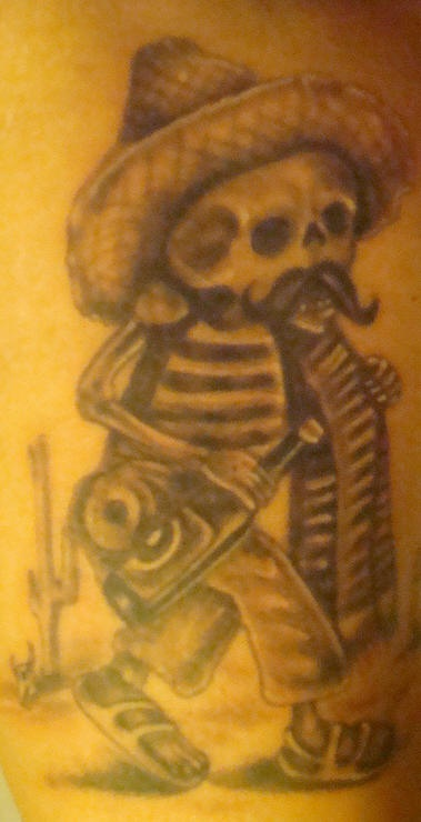 Mexican skeleton  with bottle in desert tattoo