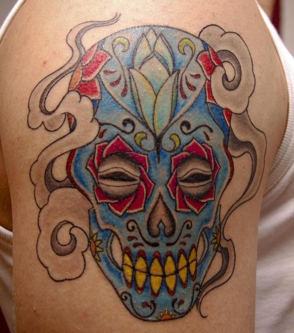 Crystal sugar skull tattoo