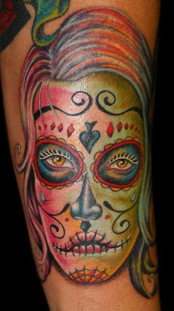Girl face with sugar skull make up tattoo