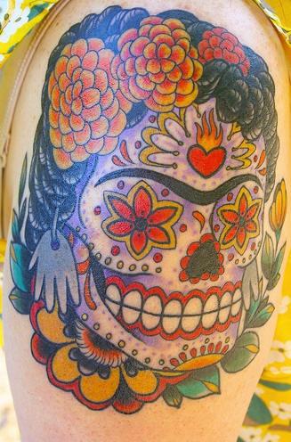 Frida sugar skull tattoo in colour