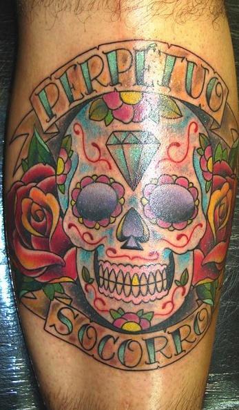 Perpetus socorro crystal sugar skull tattoo