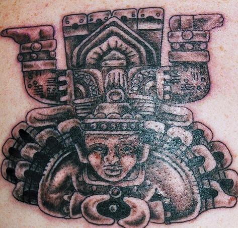 Stone aztec altar tattoo