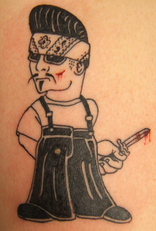 Mexican gangster with knife in blood tattoo