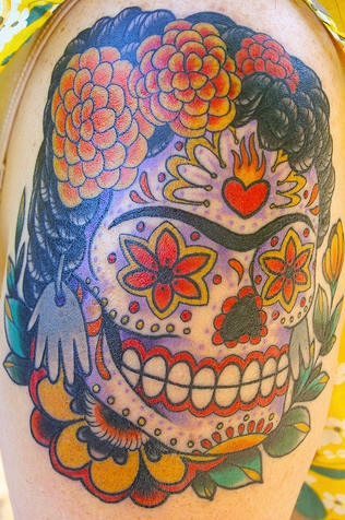 Frida kahlo colourful sugar skull tattoo